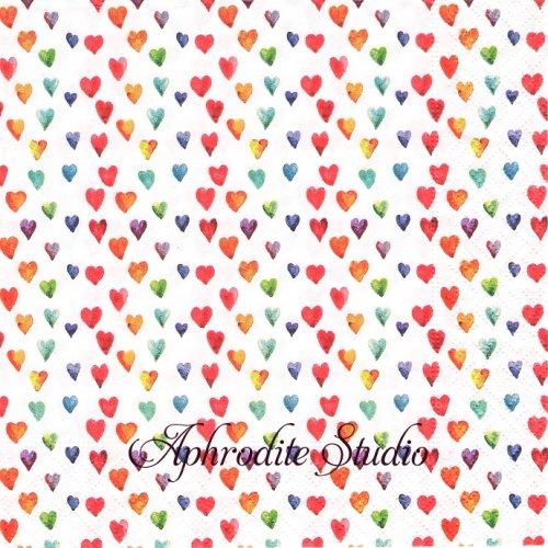 Pride 小さなカラフルハート 1枚 バラ売り 33cm ペーパーナプキン paper+design