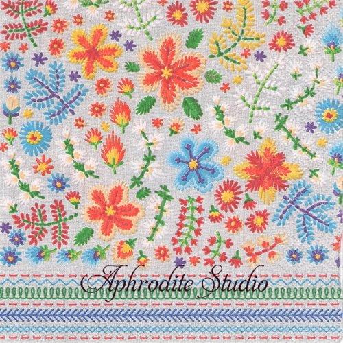 Embroidery 刺繍のお花 1枚 バラ売り 33cm ペーパーナプキン paper+design