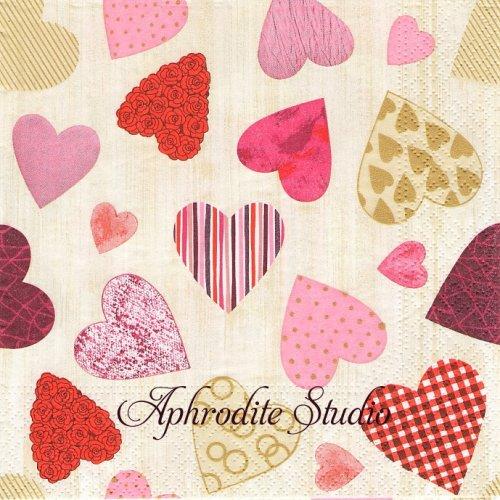 Colourful Hearts カラフルなハート 1枚 バラ売り 33cm ペーパーナプキン PAPSTAR