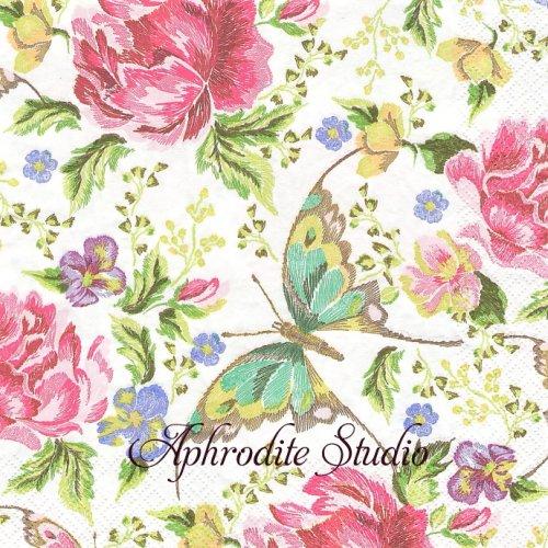 Embroidery Flowers and Butterflies 刺繍の花と蝶 1枚 バラ売り 33cm ペーパーナプキン Maki