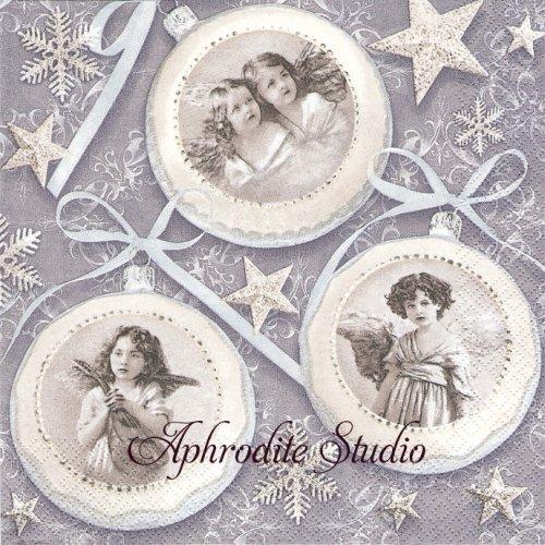 Old Vintage Xmas Baubles ヴィンテージ写真 少女のオーナメント 1枚 バラ売り 33cm ペーパーナプキン Maki