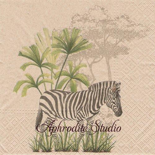 We Care Zebra シマウマとシマウマ模様 1枚 バラ売り 33cm ペーパーナプキン Paw