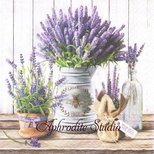Lavender in Bucket バケツの中のラベンダー 1枚 バラ売り 33cm ペーパーナプキン Paw