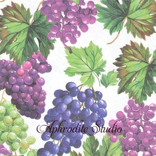 Natural Grapes 葡萄 グレープ 1枚 バラ売り 33cm ペーパーナプキン Paw