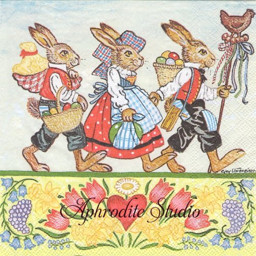 Three Rabbits イースターの兎 GUY UNTERENIER 1枚 バラ売り 33cm ペーパーナプキン Ambiente