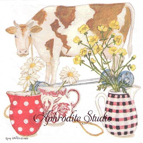 Cow 牛  GUY UNIEREINER  1枚 バラ売り 33cm ペーパーナプキン Ambiente