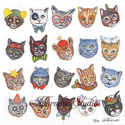 Funny Cats 楽しい猫 GUY UNIEREINER 1枚 バラ売り 33cm ペーパーナプキン Ambiente