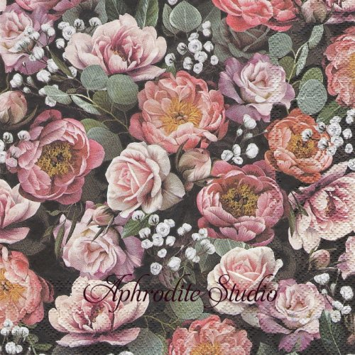 Vintage Flowers Black ヴィンテージローズ 1枚 バラ売り 33cm ペーパーナプキン Ambiente