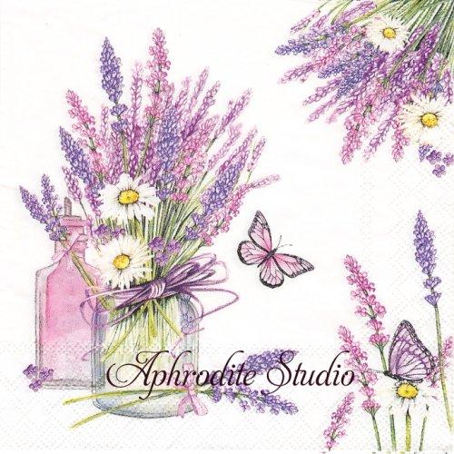 Lavender Jar ラベンダーの瓶 1枚 バラ売り 33cm ペーパーナプキン Ambiente