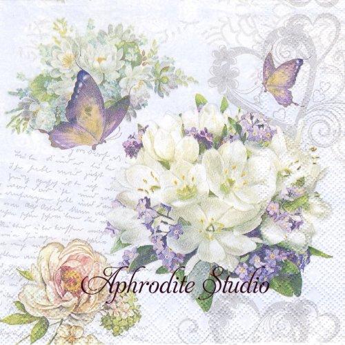 Flower Love 白い花束 ライラック 1枚 バラ売り 33cm ペーパーナプキン Ambiente