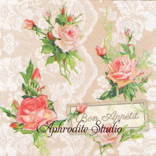 Roses On Lace レースと薔薇 1枚 バラ売り 33cm ペーパーナプキン Ambiente