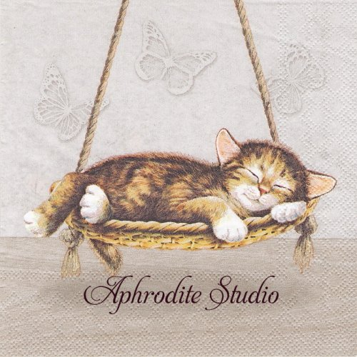 <img class='new_mark_img1' src='https://img.shop-pro.jp/img/new/icons55.gif' style='border:none;display:inline;margin:0px;padding:0px;width:auto;' />Dreaming Cat 夢見る猫 1枚 バラ売り 33cm ペーパーナプキン Ambiente