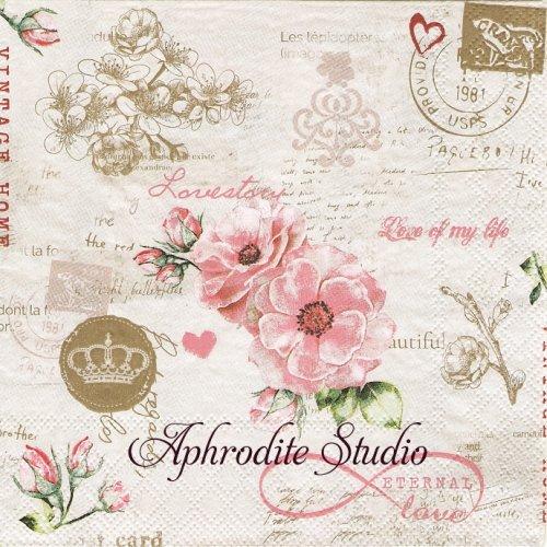 Eternal Love ピンクの野薔薇1枚 バラ売り 33cm ペーパーナプキン Ambiente