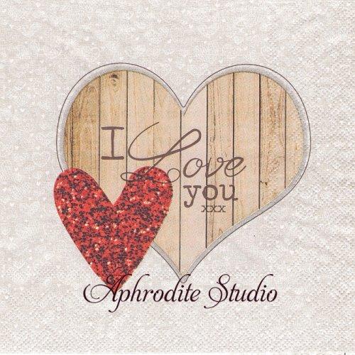 I Love You 木製のハートサイン 1枚 バラ売り 33cm ペーパーナプキン Ambiente