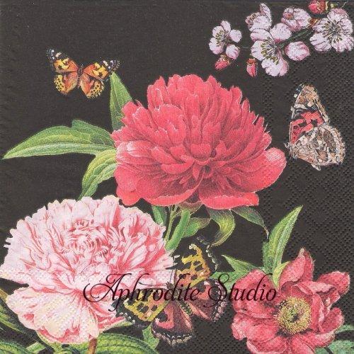Peonien ブラック 芍薬1枚 バラ売り 33cm ペーパーナプキン Ambiente