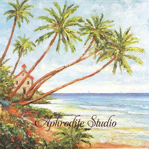 Palm Beach ビーチの風景 1枚 バラ売り 33cm ペーパーナプキン Ambiente