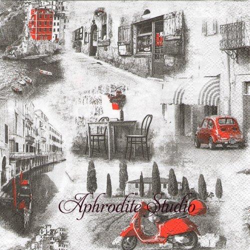Italian Streets イタリアの街の風景 1枚 バラ売り 33cm ペーパーナプキン Ambiente
