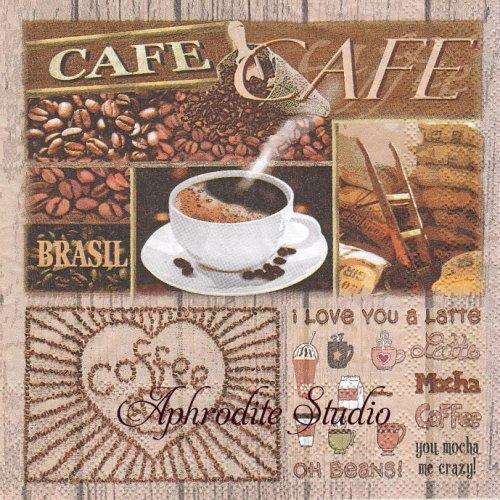 Coffee Variations コーヒー 1枚 バラ売り 33cm ペーパーナプキン Ambiente
