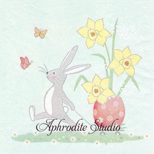 Walking Easter Bunny お散歩うさぎ 兎 イースター 1枚 バラ売り 33cm ペーパーナプキン Ambiente