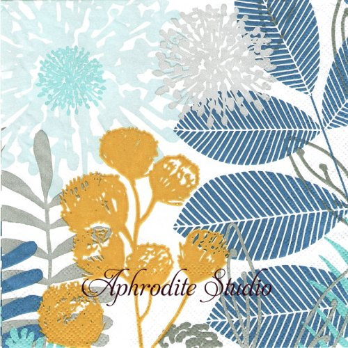 Summer Breeze Blue 1枚 バラ売り 33cm ペーパーナプキン Ambiente