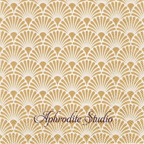 Art Deco Gold/White ゴールドホワイト 波模様 和柄 1枚 バラ売り 33cm ペーパーナプキン Ambiente