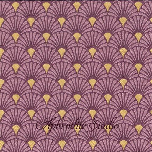 Art Deco Berry/Gold ベリーゴールド 波模様 和柄 1枚 バラ売り 33cm ペーパーナプキン Ambiente