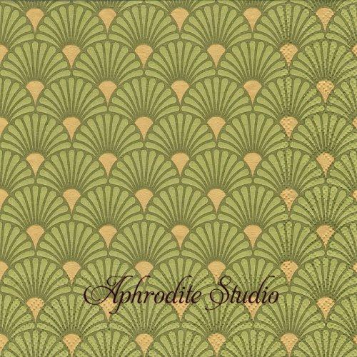 Art Deco Lime/Gold ライムゴールド 波模様 和柄 1枚 バラ売り 33cm ペーパーナプキン Ambiente