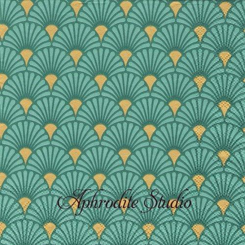 Art Deco Green/Gold グリーンゴールド 波模様 和柄 1枚 バラ売り 33cm ペーパーナプキン Ambiente