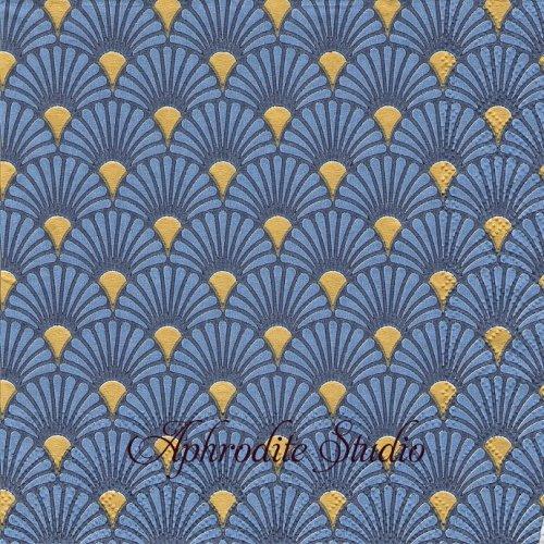 Art Deco Blue/Gold ブルーゴールド 波模様 和柄 1枚 バラ売り 33cm ペーパーナプキン Ambiente