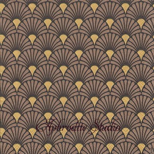 Art Deco Black/Gold  ブラックゴールド 波模様 和柄 1枚 バラ売り 33cm ペーパーナプキン Ambiente