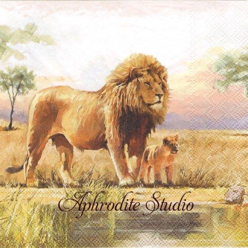 Lions 親子のライオン 1枚 バラ売り 33cm ペーパーナプキン Ambiente