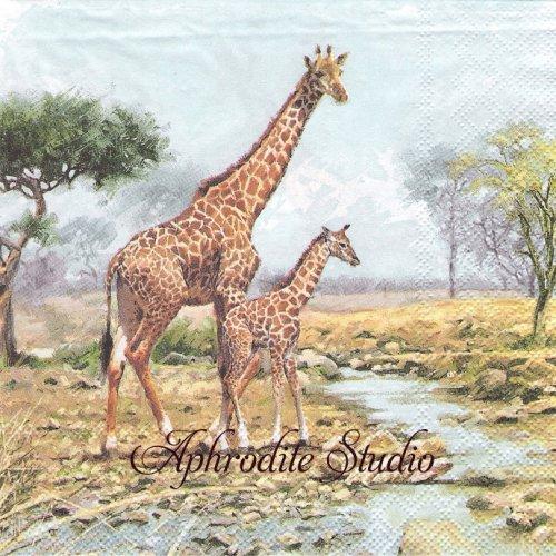 Giraffes 親子のキリン 1枚 バラ売り 33cm ペーパーナプキン Ambiente