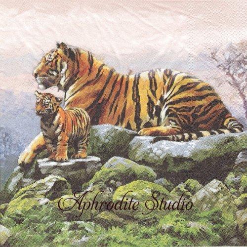 Tigers 親子のトラ タイガー 虎 1枚 バラ売り 33cm ペーパーナプキン Ambiente