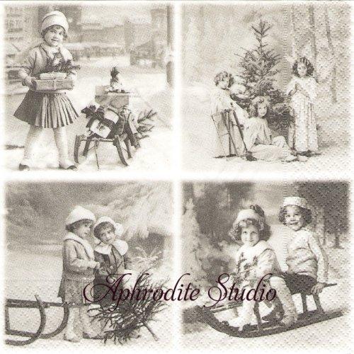 北欧 4分割 Christmas Decoupage 子供たち 1枚 バラ売り 33cm ペーパーナプキン SAGEN VINTAGE DESIGN