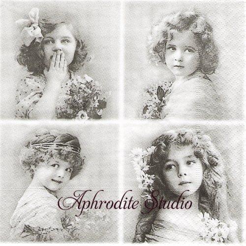 北欧 4分割 Flower Girls 花と少女 1枚 バラ売り 33cm ペーパーナプキン SAGEN VINTAGE DESIGN