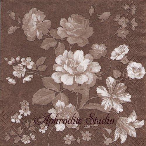 Beautiful Mystery brown 薔薇の花 ブラウン 1枚 バラ売り 33cm ペーパーナプキン Paw
