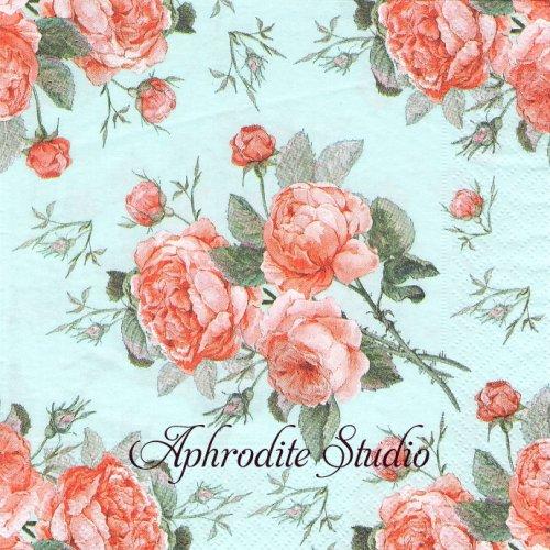 Biedermeier ライトブルー 薔薇 1枚 33cm  バラ売り ペーパーナプキン Paper+Design