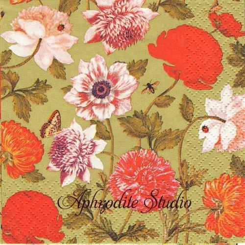 25cm Flora Botanica grun 1枚 バラ売り ペーパーナプキン Atelier