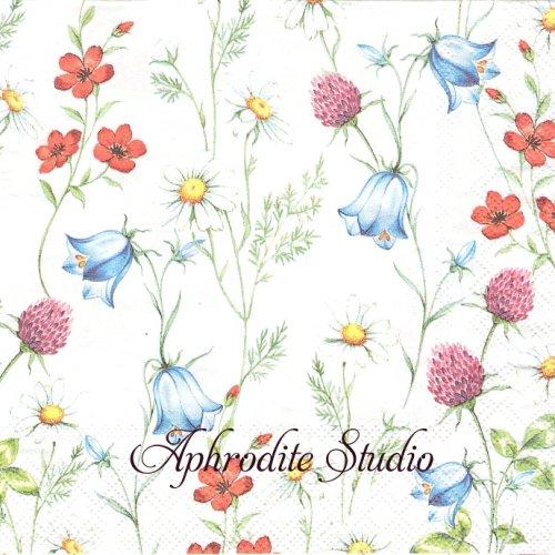 Mixed Wild Flowers White 春の野の花 1枚 バラ売り 33cm ペーパーナプキン Ambiente