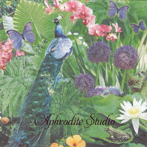 Blue Peacock 1枚 バラ売り 33cm ペーパーナプキン Ambiente