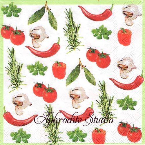 Italian Vegetables イタリアンベジタブル 野菜 1枚 バラ売り 33cm ペーパーナプキン Ambiente