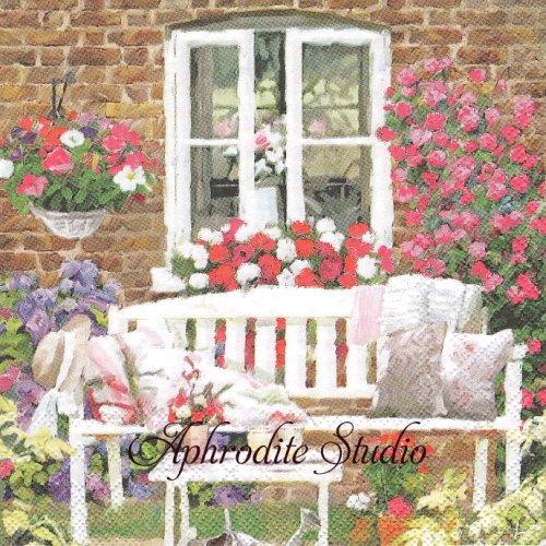 Garden Bench 庭のベンチ 1枚 バラ売り 33cm ペーパーナプキン Ambiente