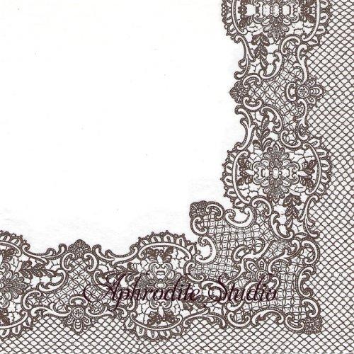 Royal Lace (brown) レース模様 1枚 バラ売り 33cm ペーパーナプキン Paw