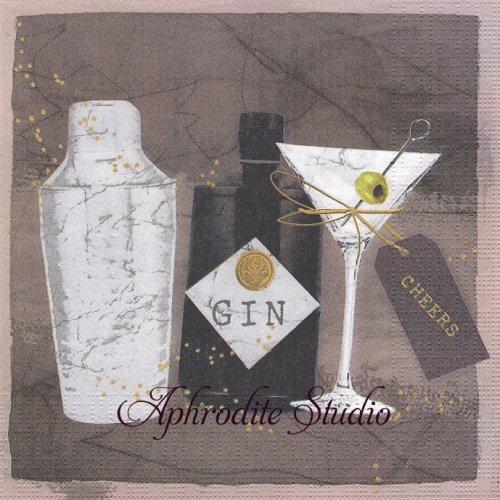 Gin & Martini ジン&マルティーニ 1枚 バラ売り 33cm ペーパーナプキン ppd