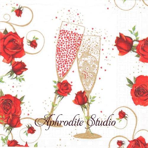 To Love シャンパンと赤い薔薇 1枚 バラ売り 33cm ペーパーナプキン ppd