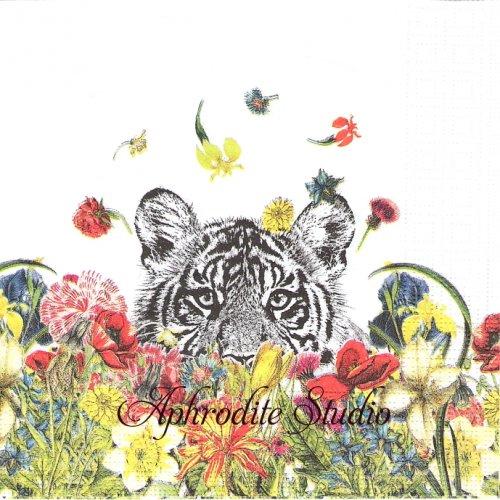 Happy Tiger 花と虎 タイガー 1枚 バラ売り 33cm ペーパーナプキン ppd