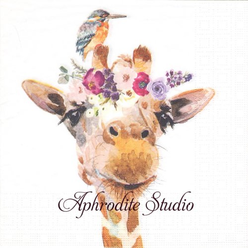 Pretty Giraffe キリンと小鳥 1枚 バラ売り 33cm ペーパーナプキン ppd