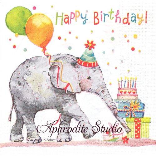 Birthday Elephant 1枚 バラ売り 33cm ペーパーナプキン ppd
