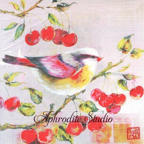 Josefine 小鳥とさくらんぼ SOPHIE ADDE 1枚 バラ売り 33cm ペーパーナプキン ppd