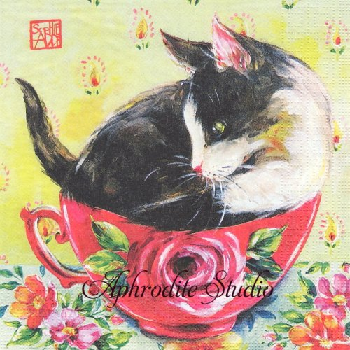 Chat en Rose ティーカップと猫 SOPHIE ADDE 1枚 バラ売り 33cm ペーパーナプキン ppd